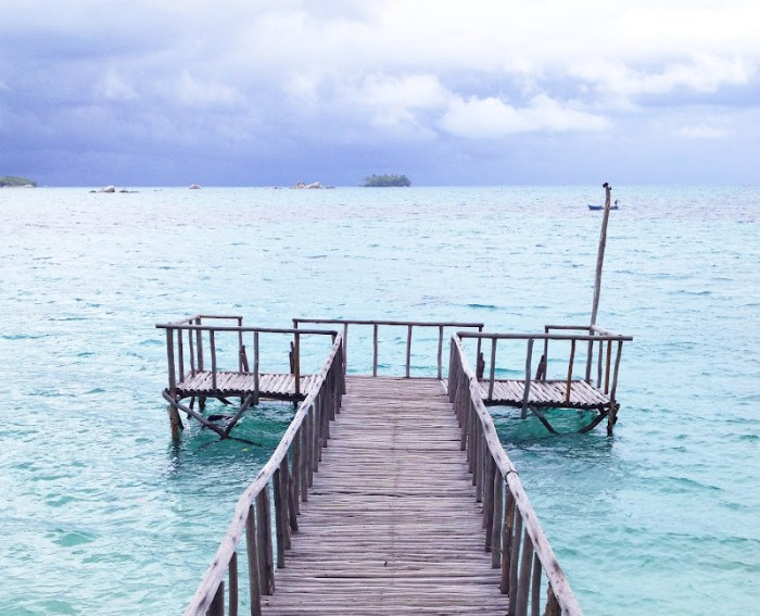 A dock on Burung Island, Belitung