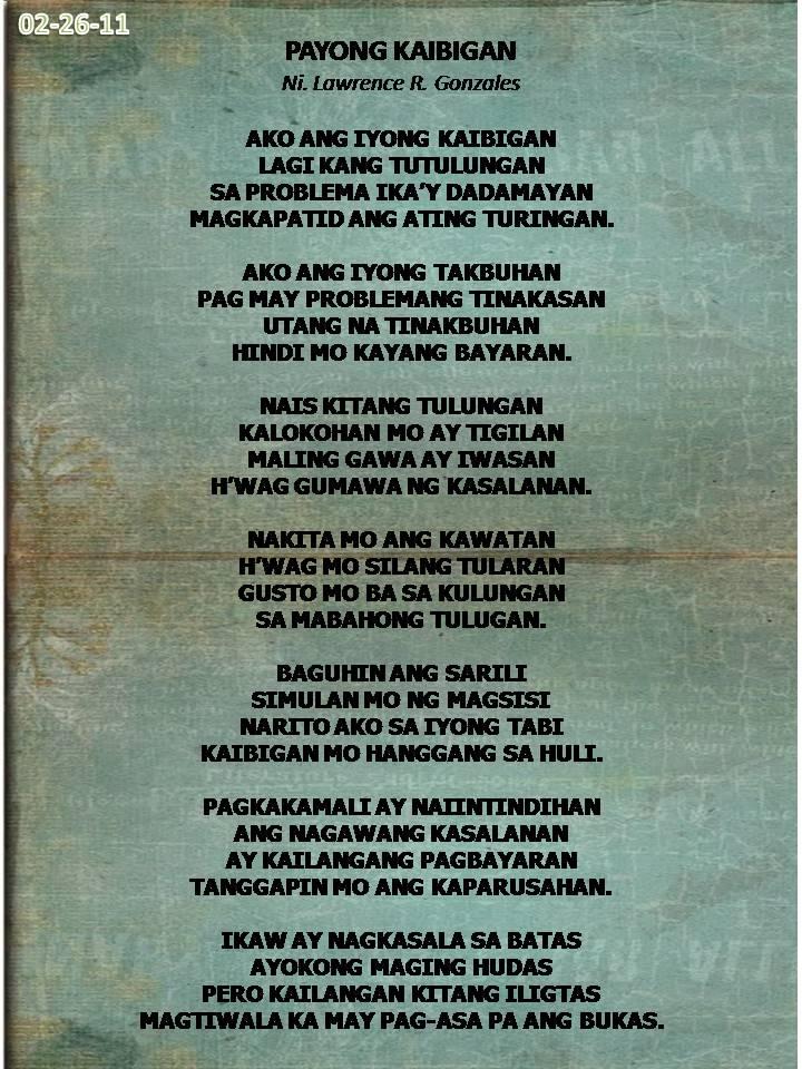 Makatang Pinoy Friendship Poem