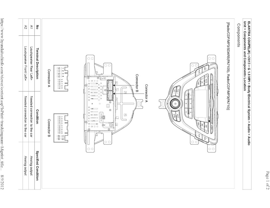 Hyundai Elantra Radio Wire Diagram For 2013, Hyundai, Free