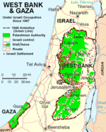 Israeli–Palestinian Conflict: Central Israel next to the West Bank and the Gaza Strip.