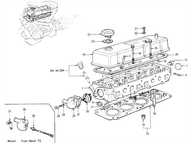 Datsun 1200 Cylinder Head, Rocker Cover & Thermostat