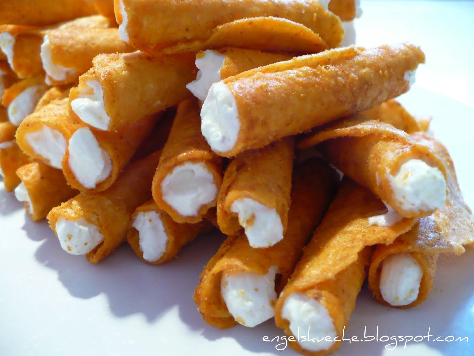 Essen aus Engelchens Kche Tortilla Rolls mit FrischkseDip gefllt