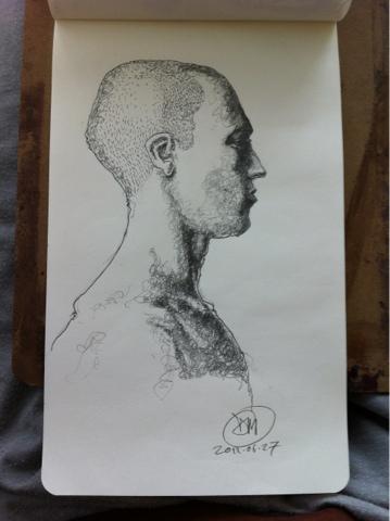 Pencil sketch of male head by David Meldrum