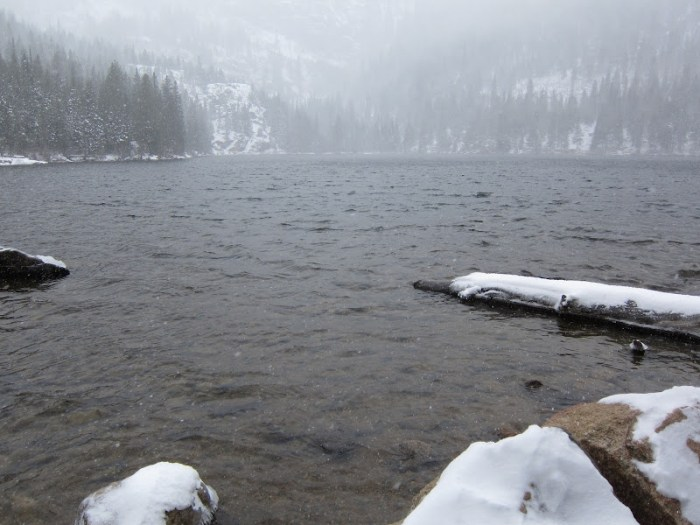 Bear Lake in snow storm, Rocky Mountain NP