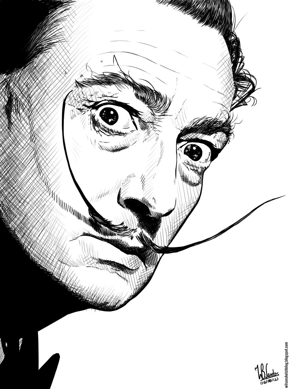 Salvador Dalí (Ink drawing)