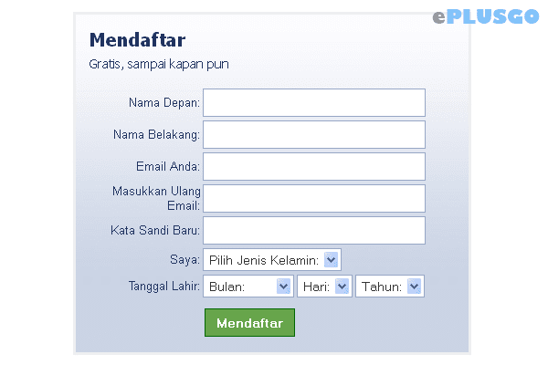 Desain Form Register Facebook