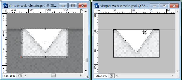 Slicing segitiga di bagian footer