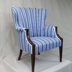 Blue And White Upholstered Chairs Baby Foam Chair Lefebvre S Upholstery Fan Back Stripe