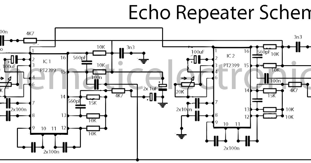 Echo effect with IC PT2399 schematic ~Circuit diagram