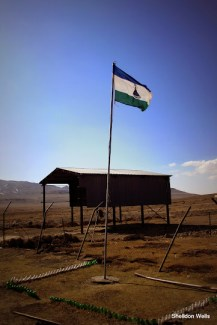 Lesotho flag at the top of Sani Pass