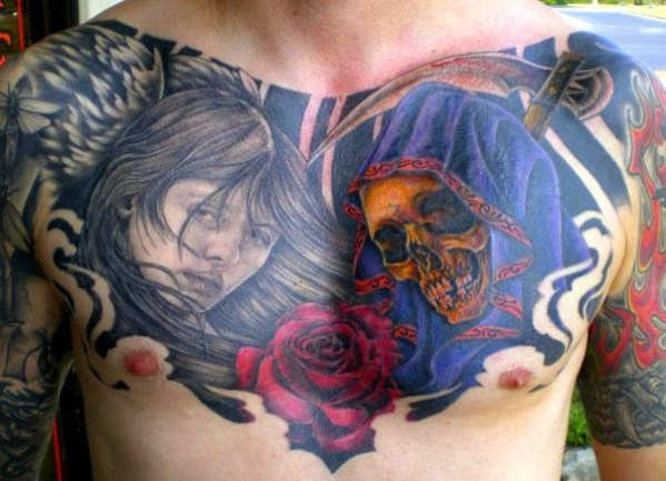 Chest pieces and rose Tattoos for men