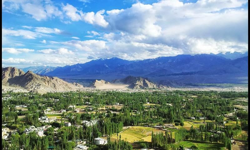 Leh city from Shanti stupa photo