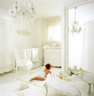 This White Nursery Looks Like It Could Float Away The Crystal Chandelier Adds Sparkle And Shine Bright Is Gender Neutral However