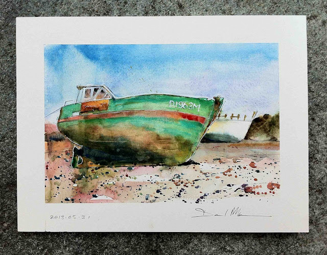 Sketch of wreck in Paimpol by David Meldrum