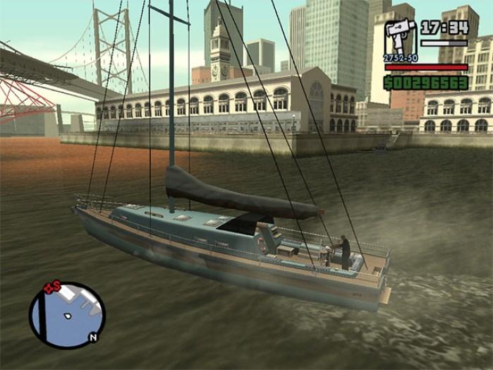 CJ dando um rolezão de veleiro em San Fierro
