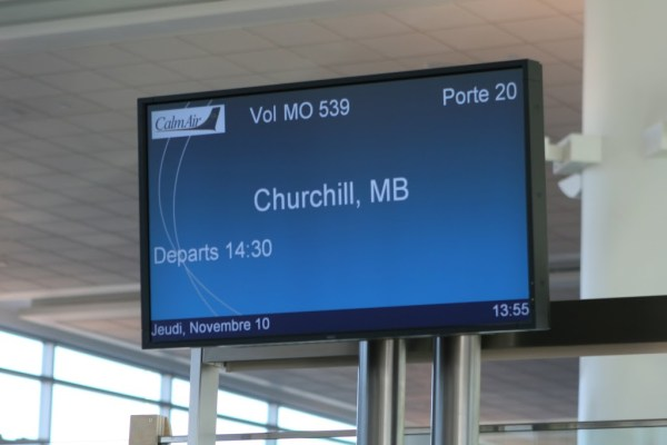 Der Flug nach Churchill ist zum Einsteigen bereit