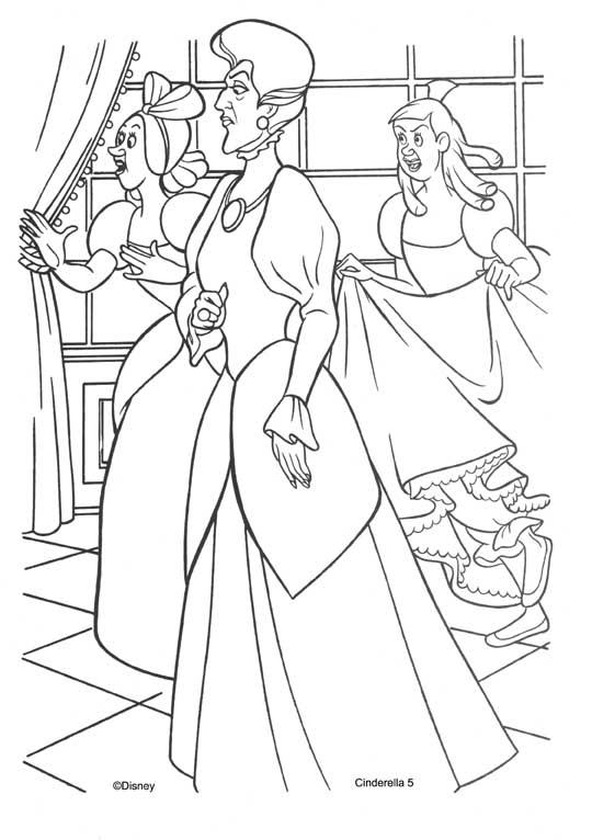 為孩子們的著色頁: Stepmother and stepsister of cinderella coloring