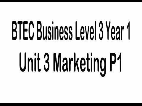 BTEC Business Level 3 Unit 3 Introduction To Marketing P1