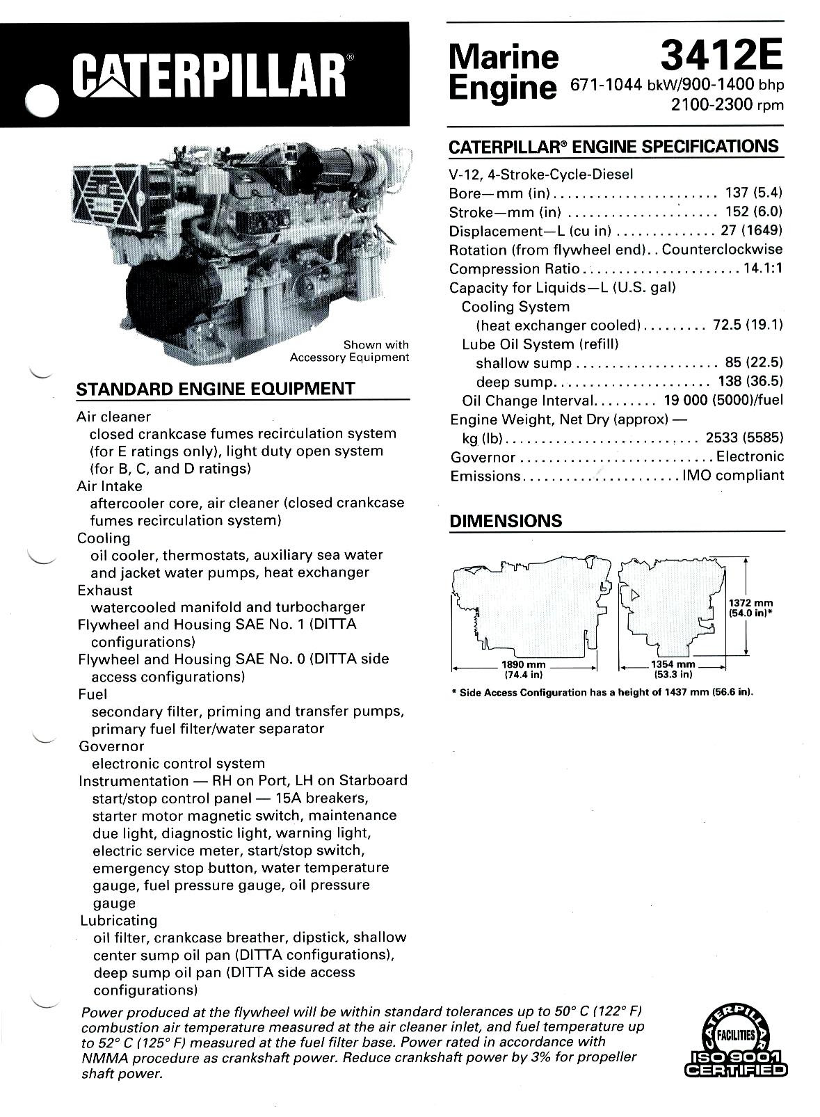 Cat 3412 Marine Engine Oil Capacity