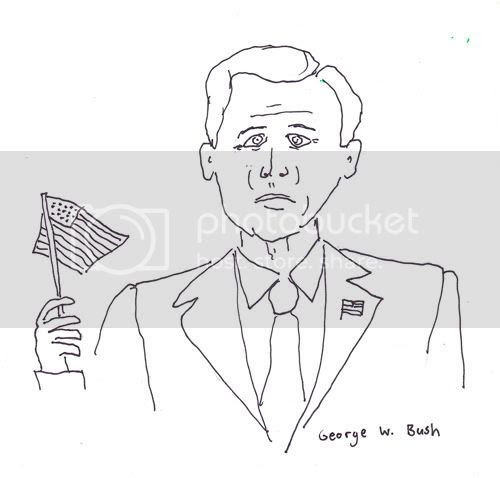 Jesse's Blog: Paradise Drawings: George W. Bush, drunk guy