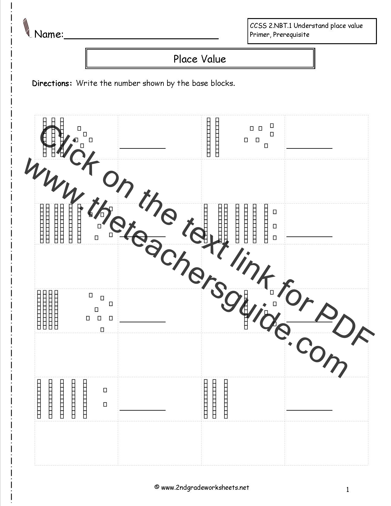 58 MATH WORKSHEETS BASE TEN BLOCKS