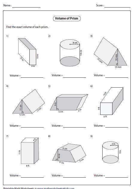 11 [PDF] PRINTABLE WORKSHEETS VOLUME OF PRISMS PRINTABLE
