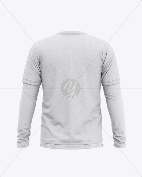 Mockup Baju Lengan Panjang : mockup, lengan, panjang, BLAKMOCK97:, Download, Men's, Heather, Double-Layer, Sleeve, T-Shirt, Mockup