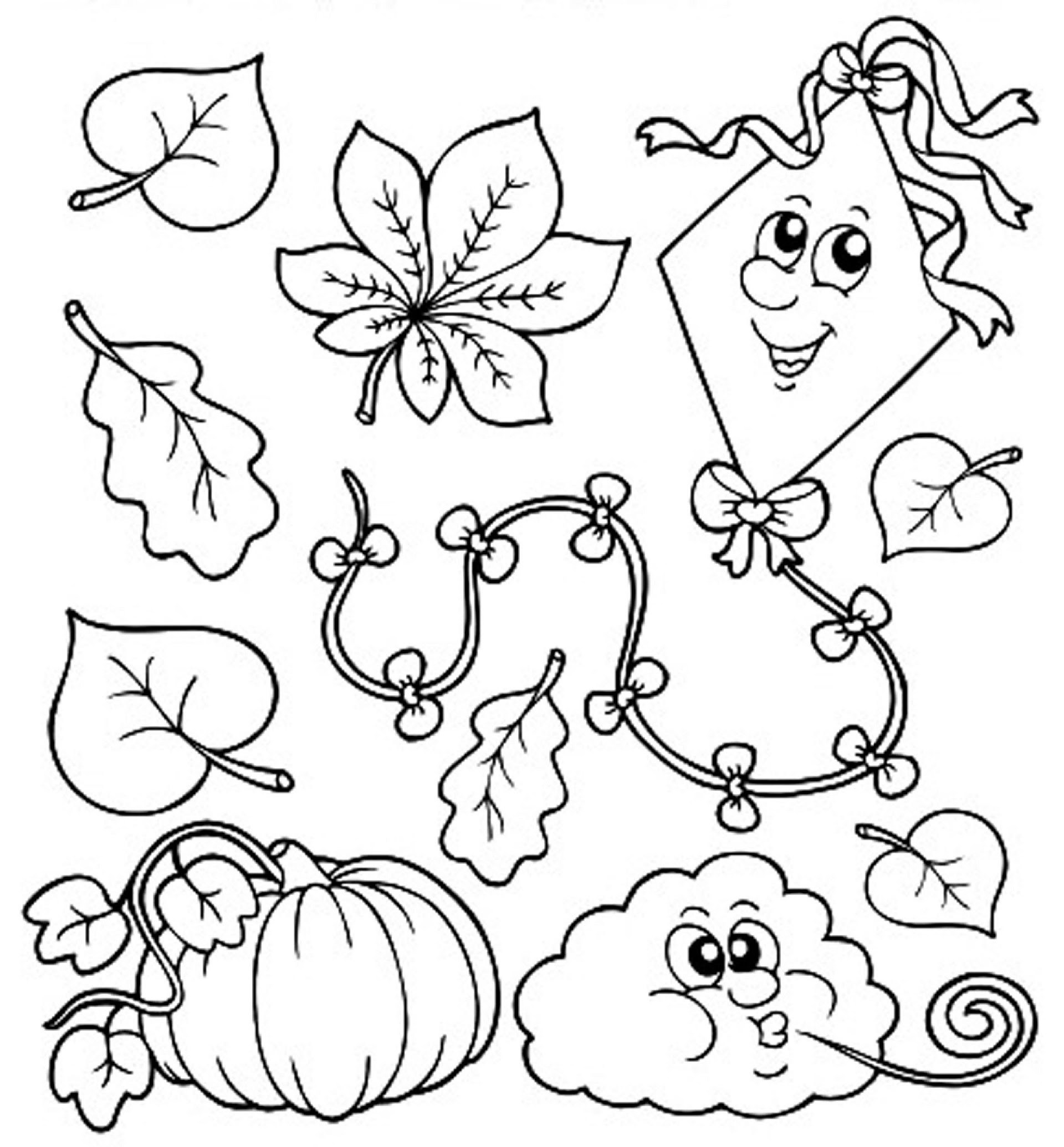 78 EASY FALL LEAVES COLORING PAGES FOR KINDERGARTEN