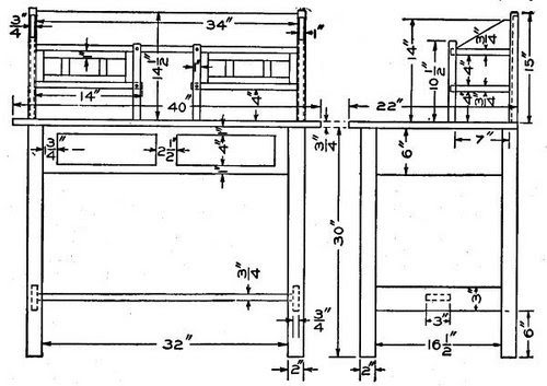 Bench Design : Woodworking plans writing desk
