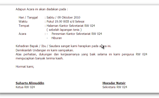 Contoh Surat Undangan Resmi Peresmian Gedung Surat 5 Cute766
