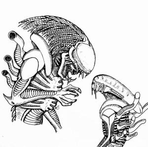 xenomorph alien drawing predalien predator vs coloring getdrawingscom personal use easy sketch template