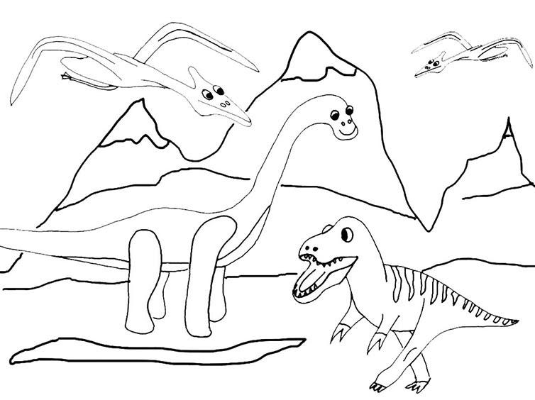 Ausmalbilder Malvorlagen - Dinosaurier kostenlos zum