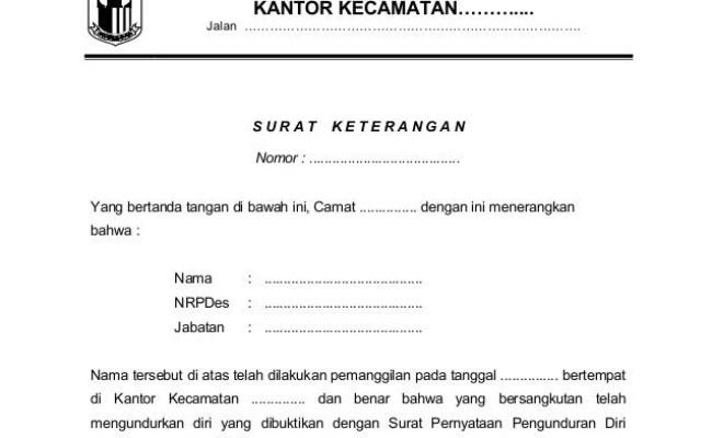 Contoh Surat Pengunduran Diri Perangkat Desa Surat 29