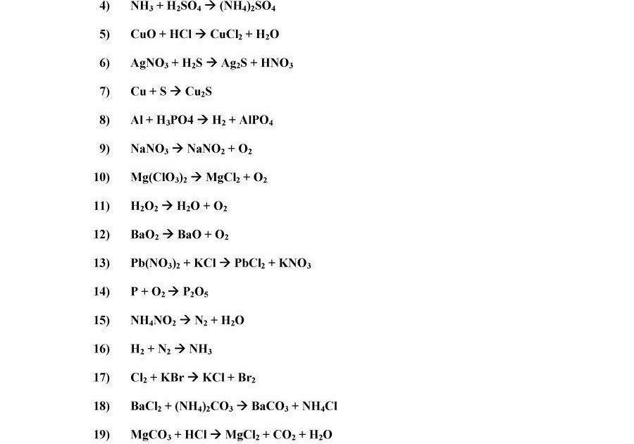Balancing Chemical Equations Practice Problems Worksheet