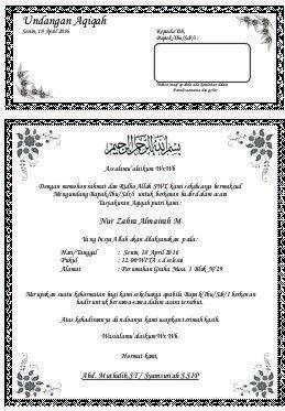Undangan Aqiqah Dan Khitanan : undangan, aqiqah, khitanan, Contoh, Undangan, Walimatul, Khitan, Aqiqah, Bagikan