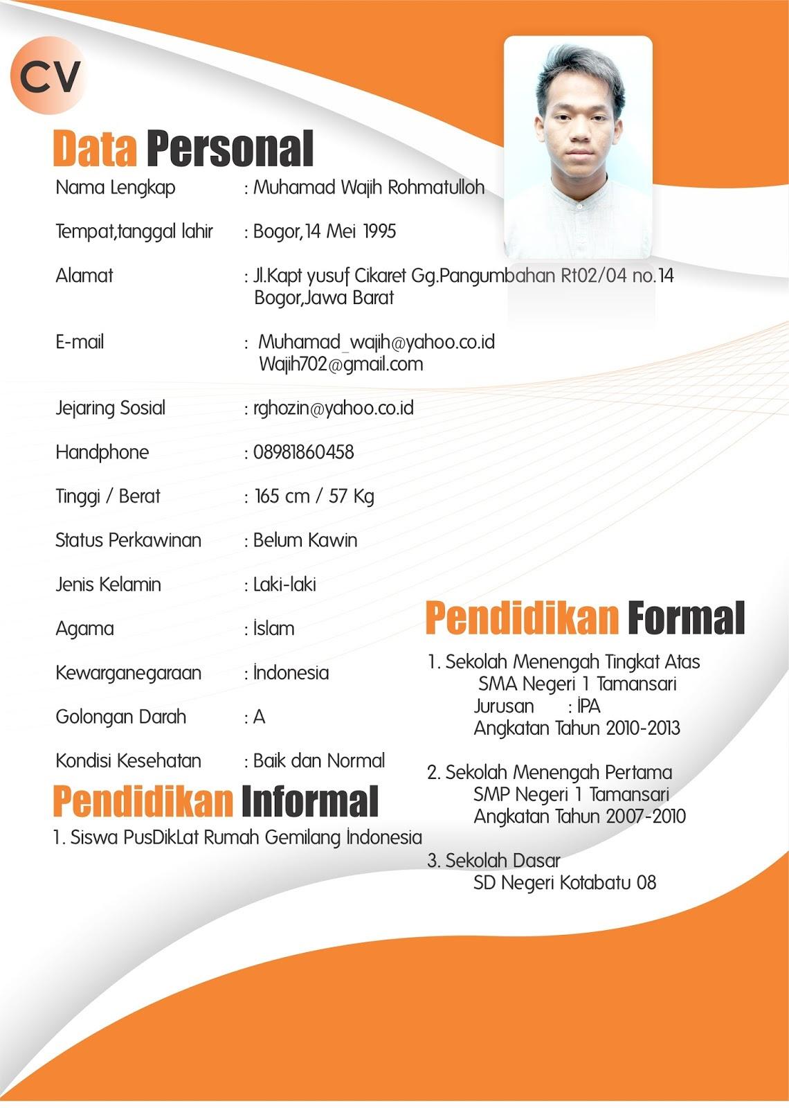 Kumpulan Contoh Curriculum Vitae CV Surat Riwayat Hidup