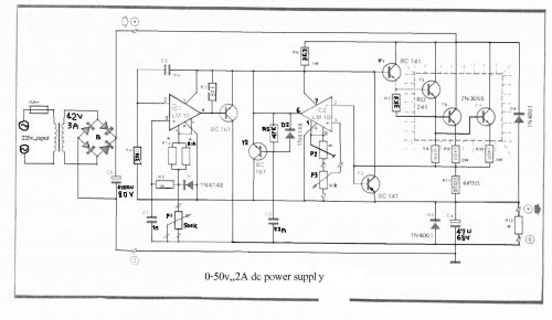 Circuits Apmilifier: 0-50V 2A Bench power supply circuit