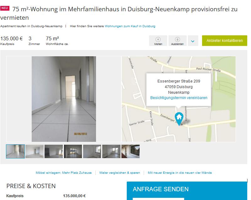 Wohnung Duisburg Neuenkamp Privat
