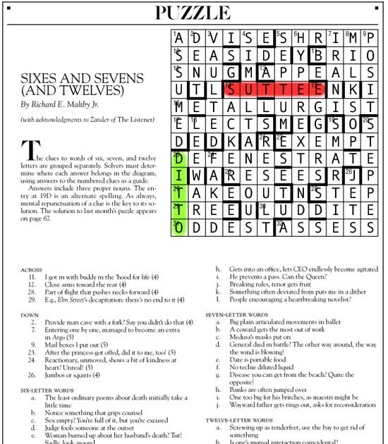Tacky Harper's Cryptic Clues: Sixes and Sevens (And