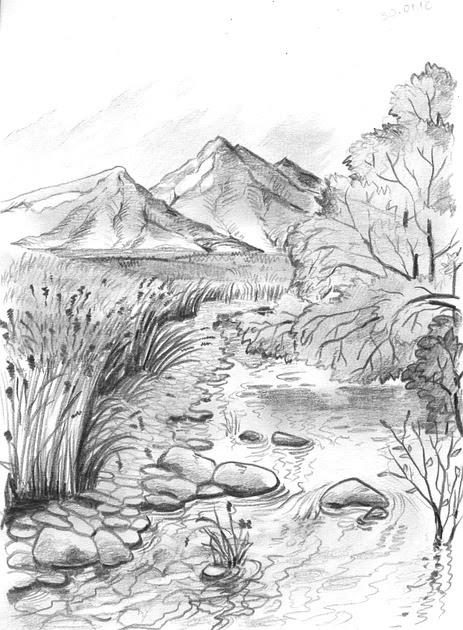 Lukisan Pemandangan Hitam Putih : lukisan, pemandangan, hitam, putih, Gambar, Pemandangan, Hitam, Putih, Dengan, Pensil