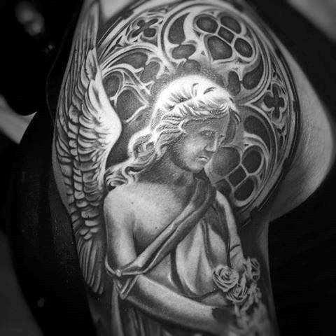 Praying Angel Statue Tattoo