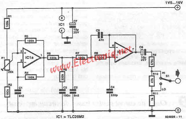 Sinusoidal signal generator circuit diagram