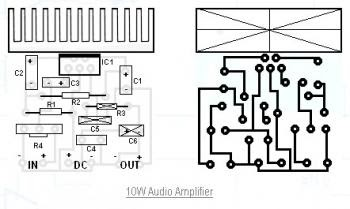 schematics: 10W Audio Amplifier Circuit schematic