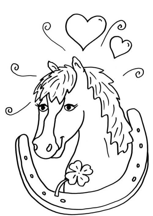 Kostenlose Malvorlage Pferde Pferd und Hufeisen zum
