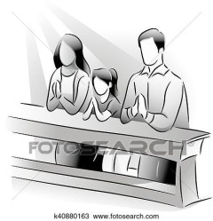 Family Praying In The Church Clipart Black And White FamilyScopes