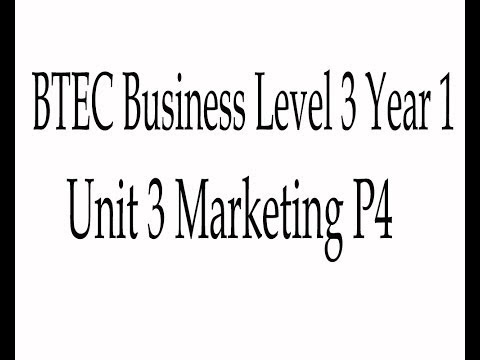 BTEC Business Level 3 Unit 3 Introduction To Marketing P4