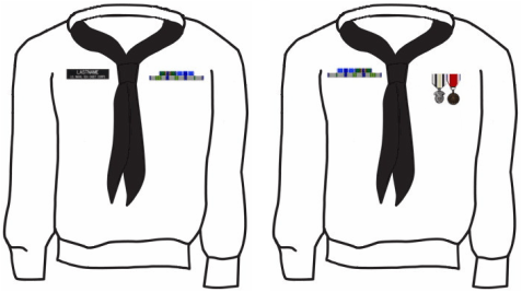 Sea Cadet Number 1 Uniform Badge Placement