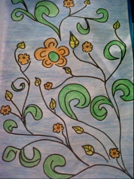 Sketsa Batik Bunga : sketsa, batik, bunga, Sketsa, Batik, Bunga, Mudah, Berwarna