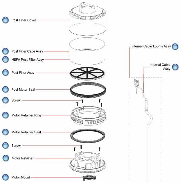 Water heater manual: Vacuum motor parts