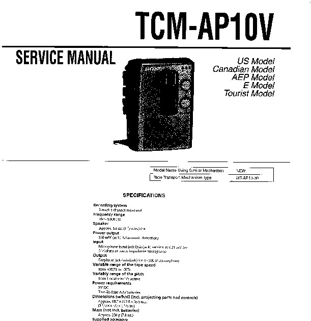 GAV Sony Tcm Ap10v Service Manual User Guide buy ~ Get Azw